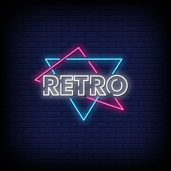 Retro neon signs style text