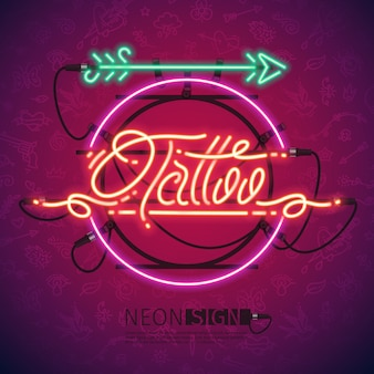 Retro neon tattoo sign with arrow