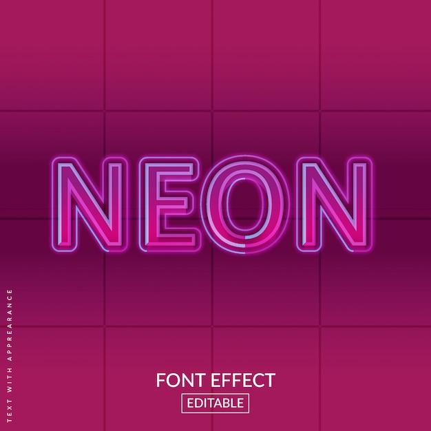 Retro neon text font effect