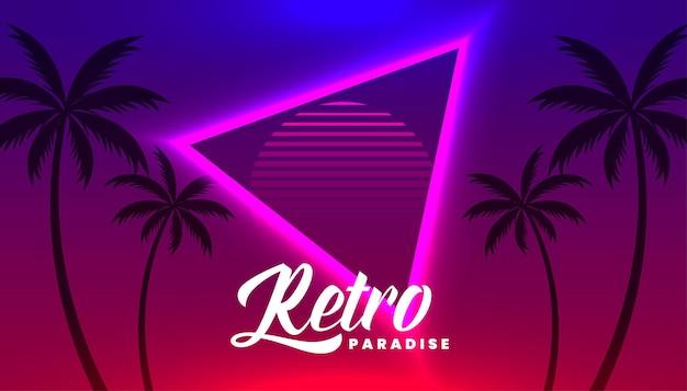 Sfondo tropicale al neon retrò con palma