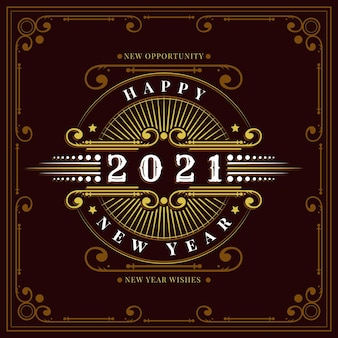 Retro new year 2021 greeting