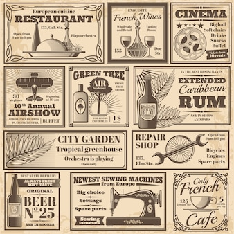 Retro newspaper advertising banners design vector template