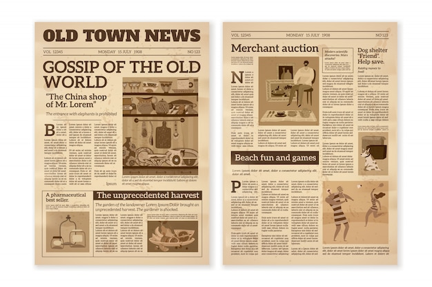 Retro newspaper. daily news articles yellow newsprint old magazine. media newspaper pages. vintage paper journal
