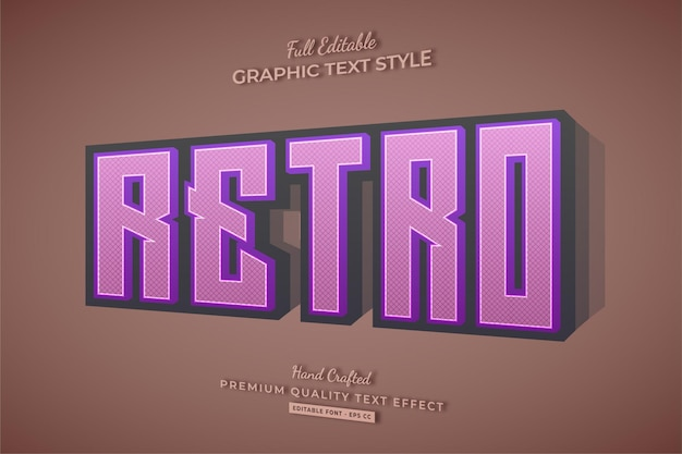 Стиль шрифта с эффектом редактируемого текста ретро старый 3d
