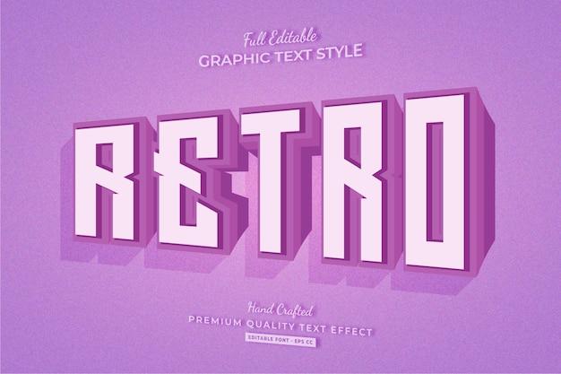 레트로 올드 3d 편집 가능한 텍스트 효과 글꼴 스타일