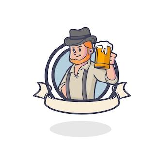 レトロな古いビールのマスコットのロゴ