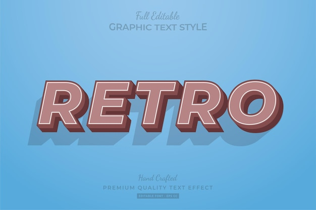 Retro old editable text effect font style