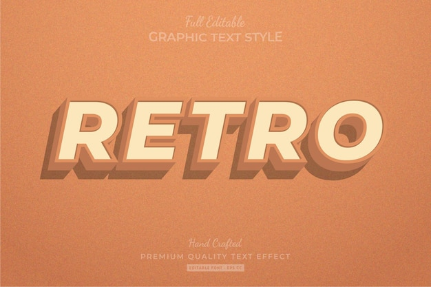 Retro old orange editable text effect font style