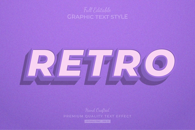 Retro old purple editable text effect font style