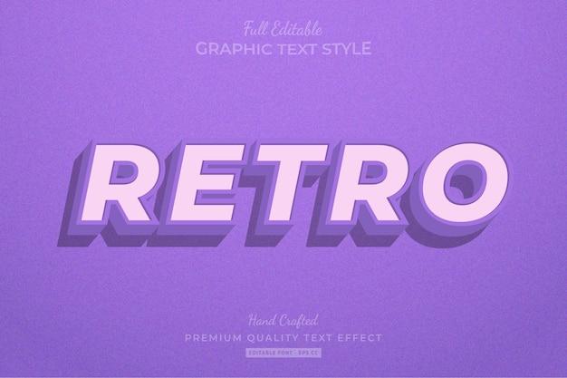 Стиль шрифта с эффектом редактируемого текста ретро старый фиолетовый