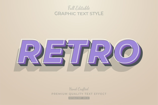 Retro old purple editable text effect