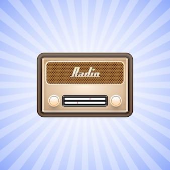 Retro old radio on white background.