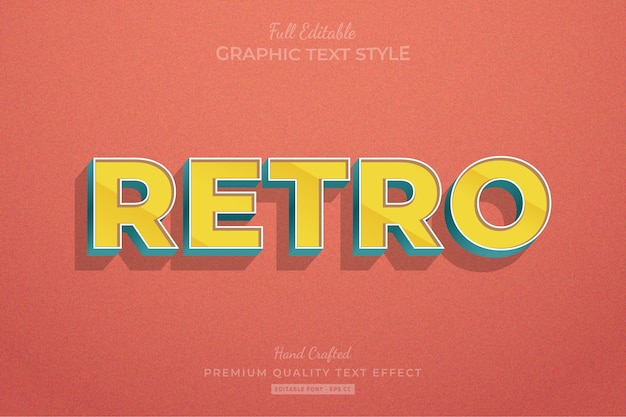 Retro old stripped editable text effect Premium Vector