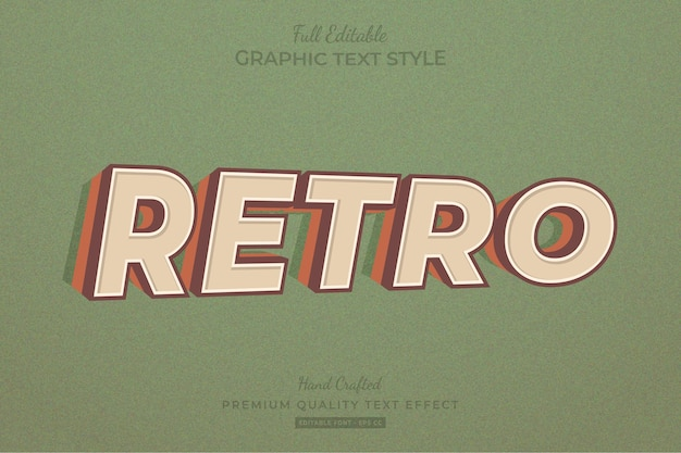 Retro old vintage 3d editable text effect font style