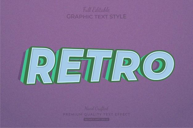 Retro old vintage 3d editable text effect font style