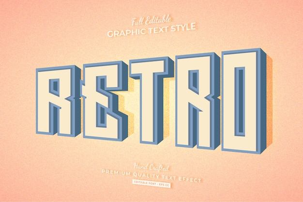 レトロな古いヴィンテージ3d編集可能なテキスト効果フォントスタイル