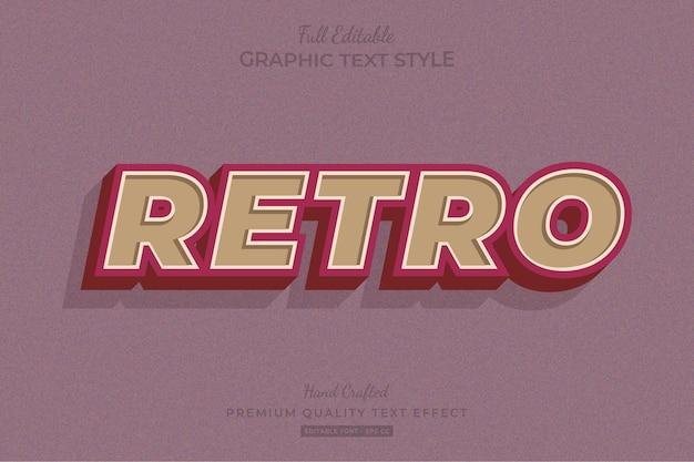 레트로 올드 빈티지 편집 가능한 텍스트 효과 글꼴 스타일