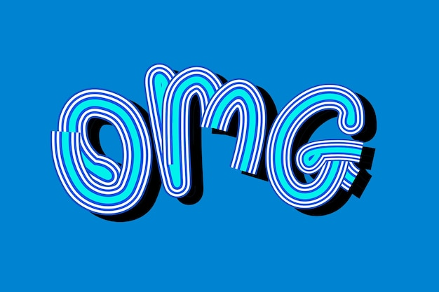 Retro omg blue typography wallpaper