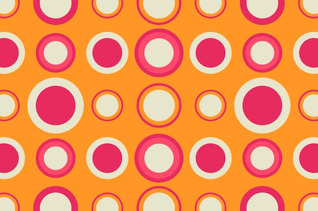 レトロなオレンジ色の背景、幾何学的な円の形のベクトル