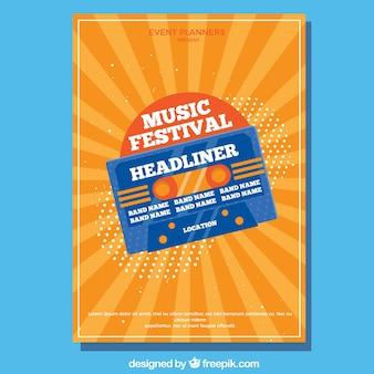 Retro orange music festival flyer template