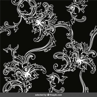 Retro ornament background in black and white colors