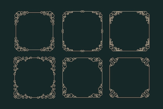 Retro ornamental frame collection