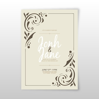 Retro ornamental template wedding invitation