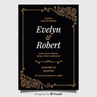 Retro ornamental wedding invitation template