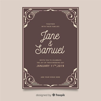 Retro ornamental wedding invitation template