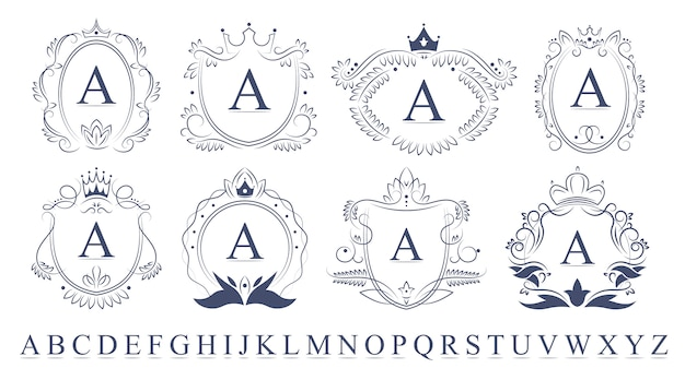 Retro ornate monogram emblems set