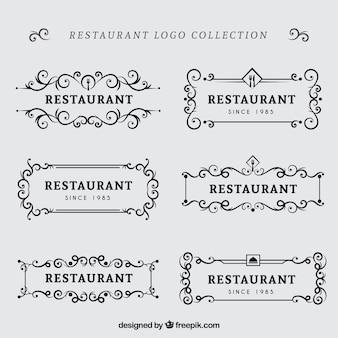 古典的なレストランのロゴのレトロパック
