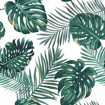 레트로 야자수 잎 배경 무늬, 벽지, 인쇄, 브로셔, 디자인을 위한 벡터의 열대 정글 그림 질감