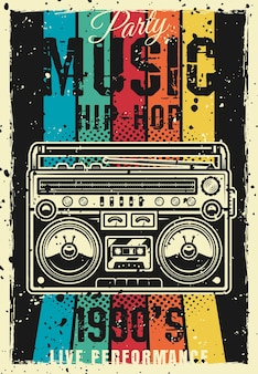 Retro party 1990s vintage colored poster with boombox vector illustration. layered, separate grunge texture and text