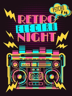 Retro party boombox poster illustration
