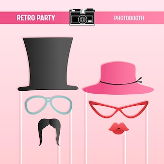 Retro party, bridal shower, movember printable glasses, hats, lips, moustaches, masks for photobooth props in vector