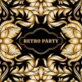 Retro party card,1920s style art deco frame