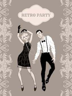 Retro party card, man and woman dressed in 1920s style dancing, flapper girls handsome guy in vintage suit, twenties, illustration