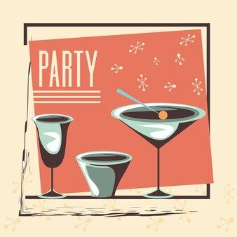 Ретро вечеринка с чашками для питья