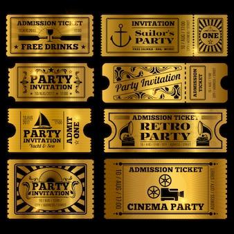 Retro party, cinema, invitation tickets set
