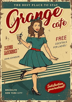 Retro party colorful poster with pin up girl