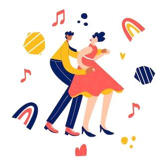 Концепция танца ретро партии. черная молодая пара танцует свинг, линди-хоп, рок-н-ролл.