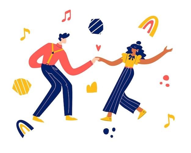 レトロなパーティーダンスのコンセプト。黒人の若いカップルのダンススイング、リンディホップ、ロックンロール。