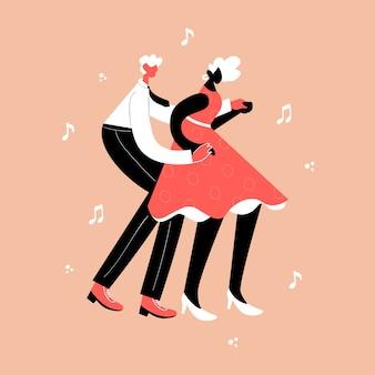레트로 파티 댄스 개념. 흑인 젊은 부부 춤 스윙, 린디 홉, 락 앤 롤.