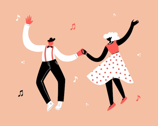 Retro party dance concept. young couple dancing swing, lindy hop, rock n roll.