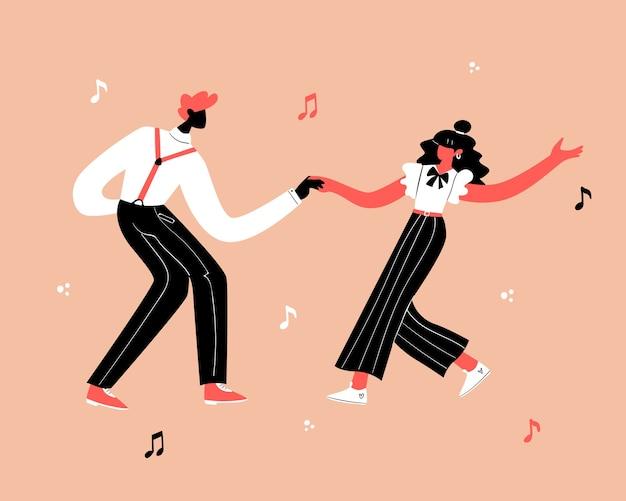 레트로 파티 댄스 개념. 젊은 커플 댄스 스윙, 린디 홉, 락 앤 롤.