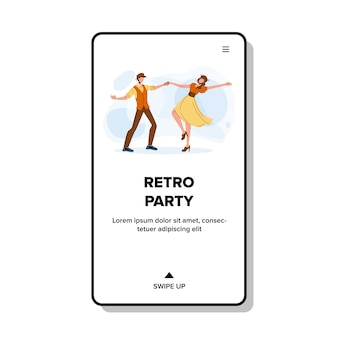 Retro party dancing young man and woman