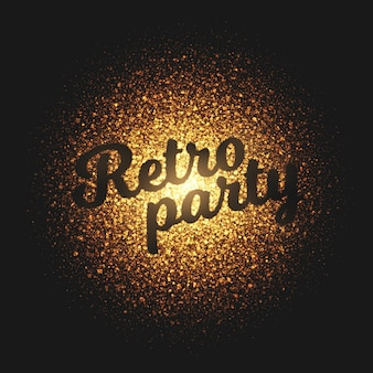 Retro party golden particles vector background