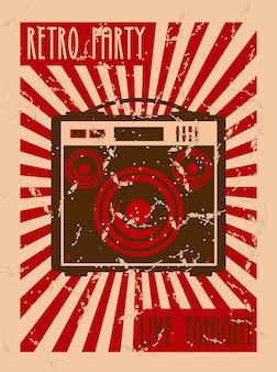 스피커와 레트로 파티 음악 축제 레터링 포스터