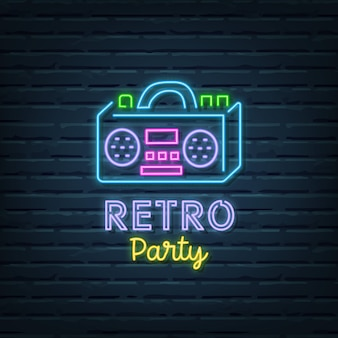 Retro party neon sign