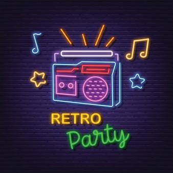 Retro party neon signboard